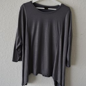 Inman gray with gold sparkle asymmetrical hem top